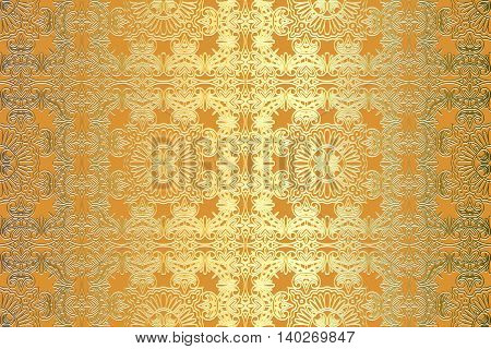 Oriental vector classic golden pattern. Seamless abstract background with repeating elements