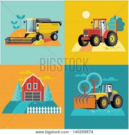 Vector set of agricultural vehicles and farm machines. Tractors, harvesters, combines. Illustration in flat design.