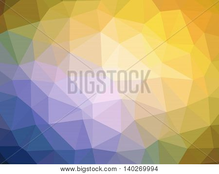 Abstract yellow orange purple blue gradient polygon shaped background.