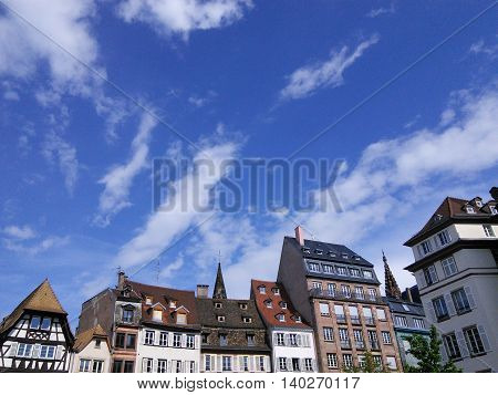 Tiny old european buildings with bright blue sky in Strasbourg France