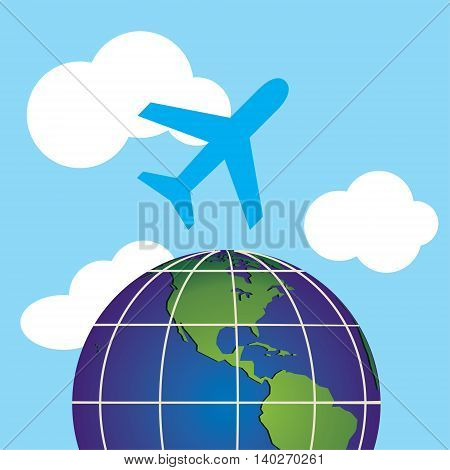 vector image of an airplane flying in the sky above the beautiful earth