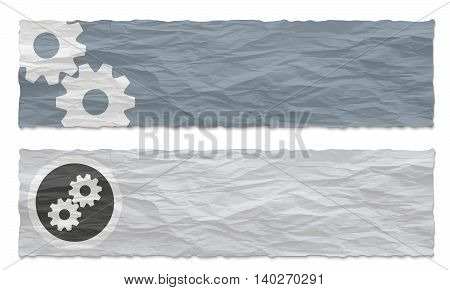 Two colored banners of crumpled paper and cogwheels