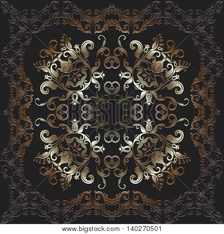 Abstract embossed graphic background square pattern with Mandala geometric color ornament platinum
