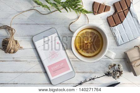 Lemon Tea Cellphone Break Chill concept