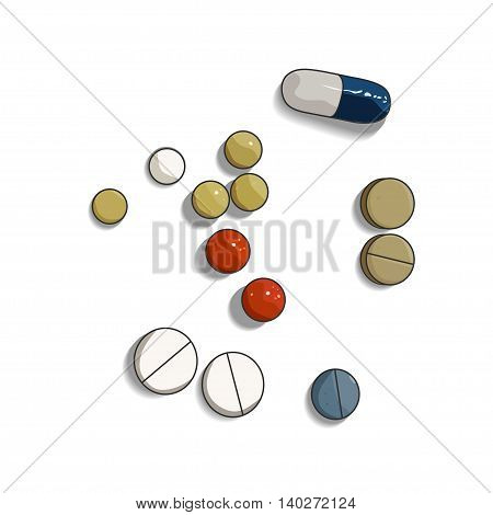 Colorful pill and tabs on white background