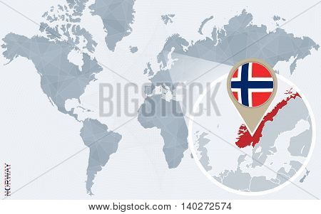 Abstract Blue World Map With Magnified Norway.