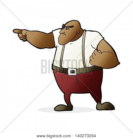 cartoon angry tough guy pointing