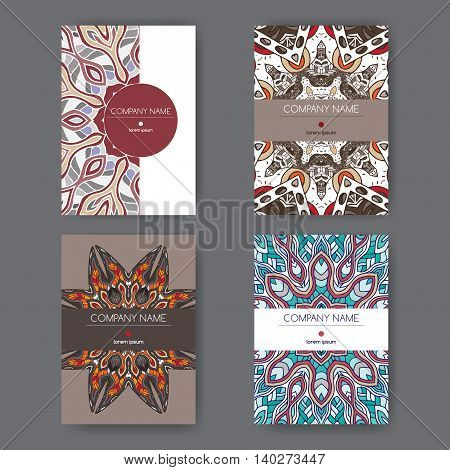 Set of four A4 templates with bright abstract pattern. Great for report, brochure covers, menu design.
