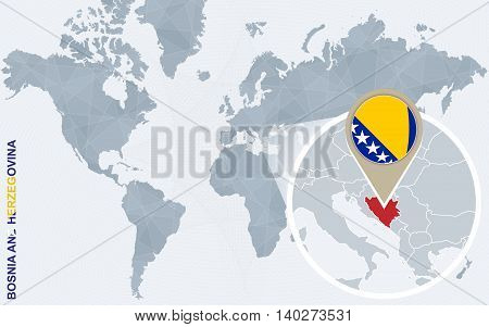 Abstract Blue World Map With Magnified Bosnia And Herzegovina.