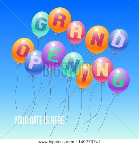 Grand opening vector illustration background for new store club etc with balloons. Template poster banner flyer design element decoration for opening event