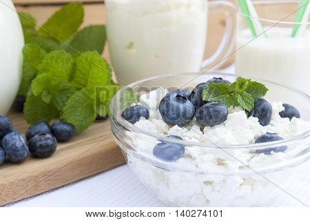 Culinary Cottage Cheese With Bilberry And Fresh Mint