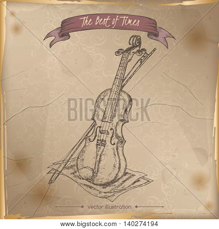 Antique violin hand drawn sketch placed on old paper background. Vintage collection. Great for school, art education, music shop, retro design.