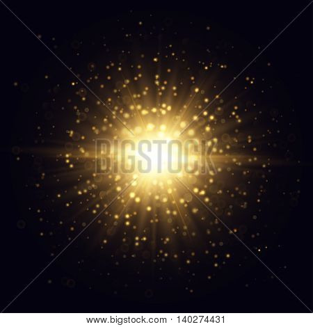 Vector star flash illustration. Golden beams and sparks on dark background.