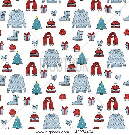Winter icons seamless pattern .Many different decorative elements for winter.