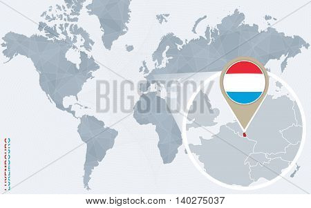 Abstract Blue World Map With Magnified Luxembourg.