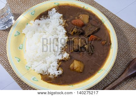 Homemade beef curry diced beef that are made in Japan home