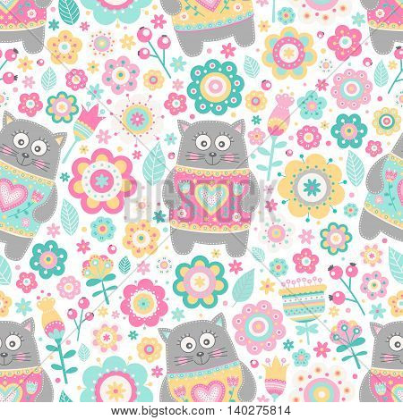 Cute flat cat. Vector seamless pattern with smile cats and flowers. Pastel colors - pink yellow green grey and white. Cute background for kids.