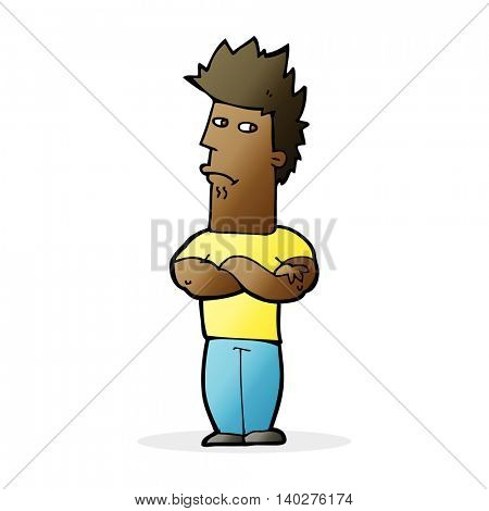 cartoon man sulking