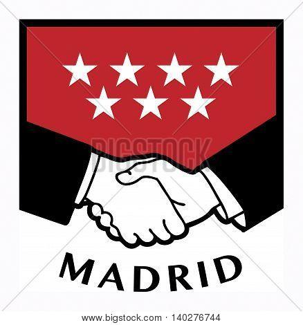 Madrid flag and business handshake, vector illustration