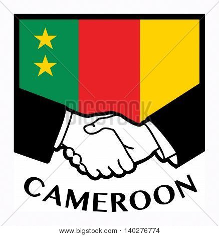 Cameroon flag and business handshake, vector illustration