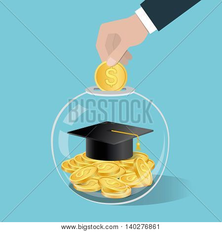 Money Saving Concept. Hand Putting A Coin Into Glass Bottle. Saving For Education.