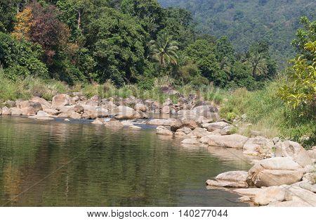 beautiful fresh air river nature, Big stone, pile of rock