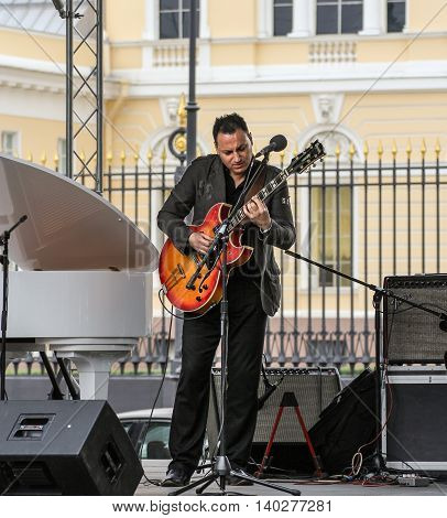 St. Petersburg, Russia - 23 July, Musician playing the guitar, 23 July, 2016. Speech by David Goloschekin with his jazz group on the Arts Square in St. Petersburg.