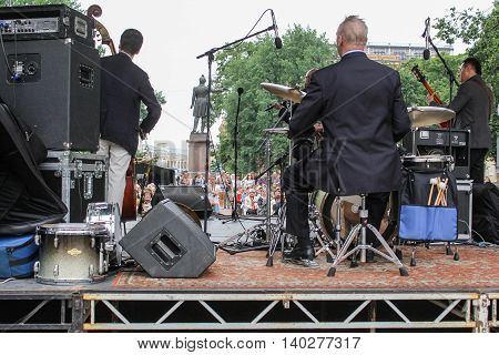 St. Petersburg, Russia - 23 July, The scene on the reverse side, 23 July, 2016. Speech by David Goloschekin with his jazz group on the Arts Square in St. Petersburg.
