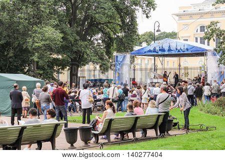 St. Petersburg, Russia - 23 July, Jazz in the garden on Arts Square, 23 July, 2016. Speech by David Goloschekin with his jazz group on the Arts Square in St. Petersburg.