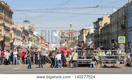 St. Petersburg, Russia - 9 May, People in the festive city, 9 May, 2016. Celebration day of victory in the center of St. Petersburg.