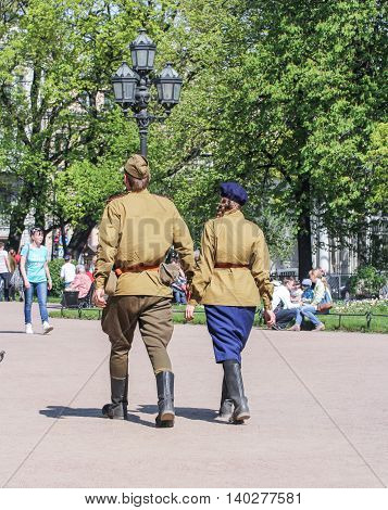 St. Petersburg, Russia - 9 May, Couple walking on the action