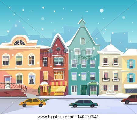 Christmas background with urban houses, boutiques, shops, grocery facade, bar door. Cars in the road at winter.