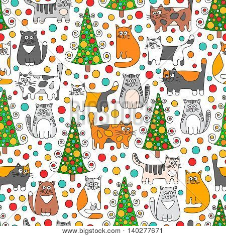 Winter cats. Vector seamless pattern with doodle cats dots and christmas spruce. Retro colors - grey green orange red and white.