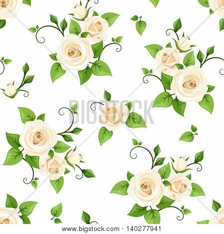 Vector seamless pattern with white roses on a white background.