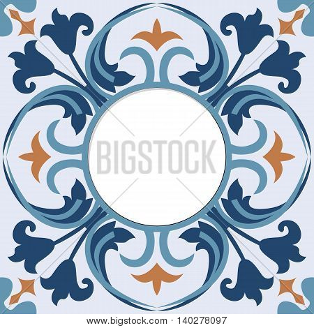 Vector colorful frame with decorative tile background.