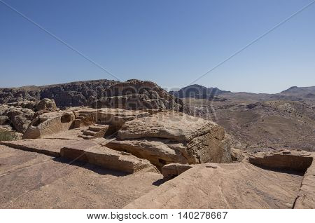 Nabatean altar at High Place of Sacrifice in Petra Jordan