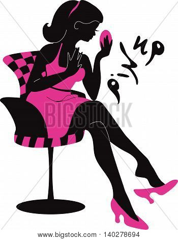 Pin up woman silhouette with dress. Stylish vector illustration for beauty salons, cosmetic shops