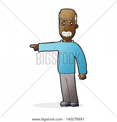 cartoon old man gesturing Get Out!