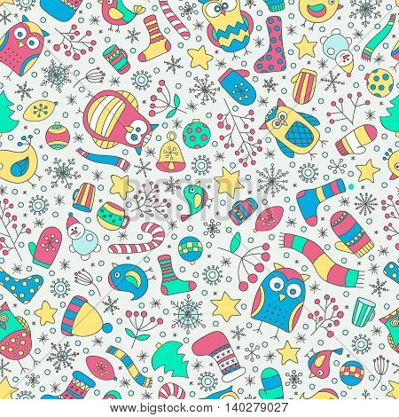 Vector seamless pattern with hand drawn doodle winter elements. Christmac funny colorful pattern. Owls birds stars mittens snowflakes berries and socks.