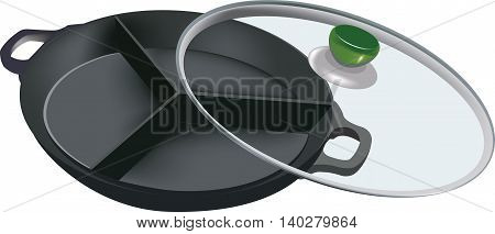 non-stick frying pan to three parts with glass cover