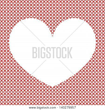 Cross-stitch background with heart. Place for text. Art vector illustration