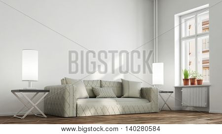 Sofa and other furniture in living room in front of a wall (3D Rendering)