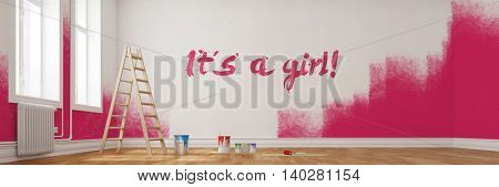 Renovation of nursery room in pink for girl with