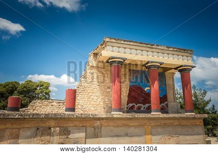 Knossos palace, Crete island, Greece. Detail of ancient ruins of famous Minoan palace of Knosos.