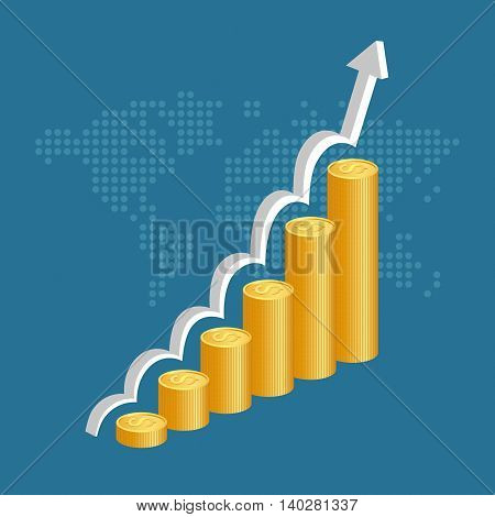 Financial Success Concept. Stacks Of Golden Coins With Graph And World Map Background.