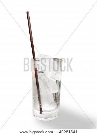 Image glass of water with ice cube