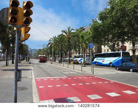 Barcelona Spain 05 july 2016: Quay street with palm trees near the marina