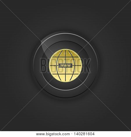 Black button web. Vector illustration with shading.