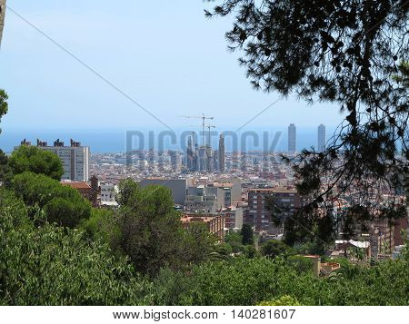 Barcelona Spain 05 july 2016: Cityscape view of Barcelona from Park Guell in a summer day