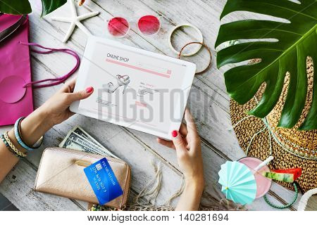 Woman Shopping Online Website Connection Concept